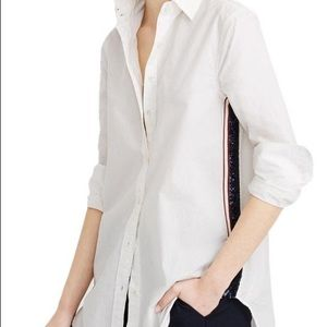 J. Crew sequin side-stripe button down shirt